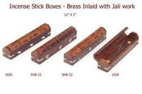 Wooden Incense Stick Burner Boxes With Brass Inlay