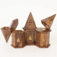 Wooden Cone Burners With Brass Inlay