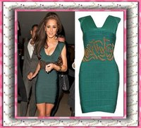 Fashion Green Retro Gold Beading Party Dress
