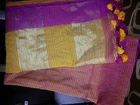 Ladies Cotton Silk Saree With Silk Border