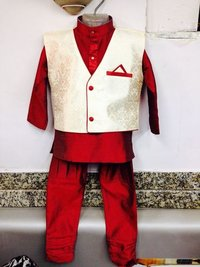 Boys Kurta With Jacket And Breeches