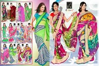 Designer Printed Saree With a Piping Border