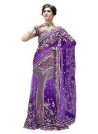 Purple Net And Brocade Lehenga Saree