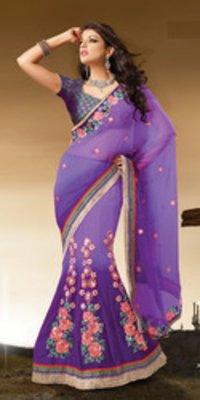 Purple Net Lehenga Style Saree