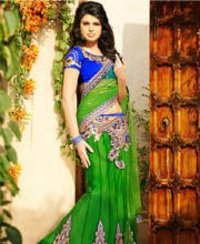 Green Net Lehenga Saree