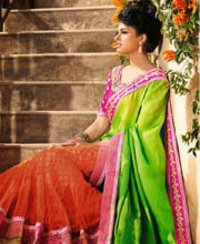 Georgette And Net Lehenga Saree