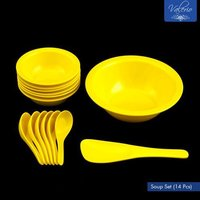 Lemon Yellow Melamine 14 Pcs Soup Set