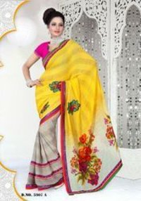 Yellow Catalog Saree