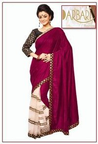 Designer Half Valvet And Half Net Saree