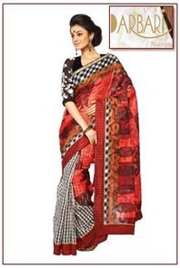 Designer Half And Half Chanderi Saree With Stitch Line Borders