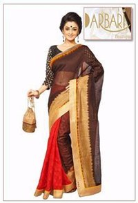 Designer Half And Half Chanderi Saree