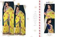 Yellow Designer Printed Saree