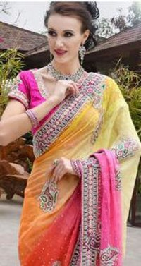 Simar Jut Fabric With Zarkan Work Saree