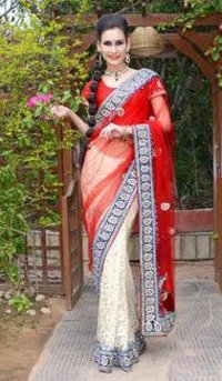 Heavy Zarkan Saree With Stone Work