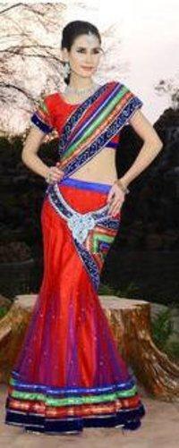 Net Dress Style Saree With Short Pallu