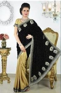 Velvet Foil Saree Black