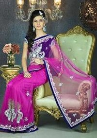 Embroidered Net Pink Sarees