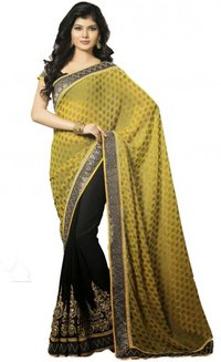 Black And Yellow Chiffon And Semi Georgette Saree