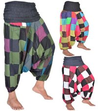 Cotton Patchwork Harem Pants