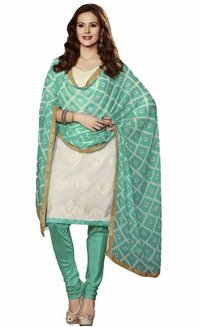 White Coloured Chanderi Suit