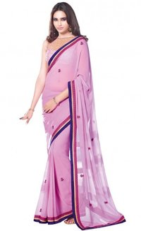 Aparnaa Pastel Pink Georgette Saree With Stone Work