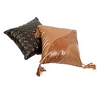 Leather Embroidered Cushion Covers