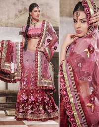 Pink Net Lehenga Choli With Dupatta