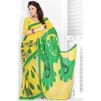 Printed Yellow Chiffon Sarees