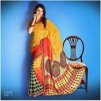 Yellow Border Georgette Saree
