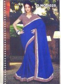 Partywear Royal Blue Sarees