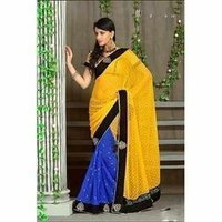 Half Yellow and Half Blue Designer Sarees
