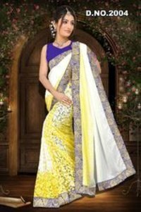 Half White and Half Yellow Sarees