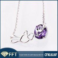 Letter Love Carved SW Element Sterling Silver Crystal Necklace