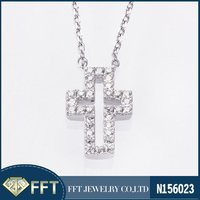 Cut-Out Cross Nice Sterling Silver Necklace