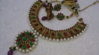 Antique Necklace Ruby Green Combination