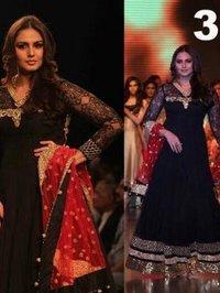 Huma Qureshi Black Anarkali Dress