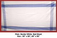 Plain Border White Bed Sheet