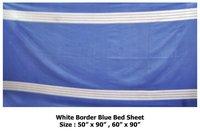 White Border Blue Bed Sheet
