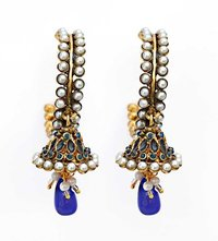 Teal Blue Beads Pearl Jhumki Earrings