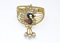 Mayur Design Cuff Bracelet With Pearl Drop Beads