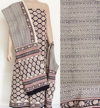 Cotton - Hand Block Printed Cotton Dress Fabric - Unstitched