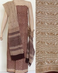 Hand Block Printed Cotton Dress Fabric With Chiffon Dupatta