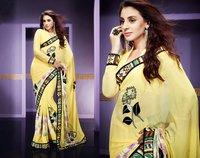 Wonderful Resham Embroidery Work Yellow Saree