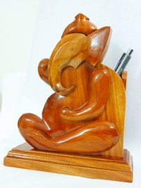 Wooden Ganesha Pen Pot