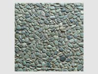 Green On Grey Base Pebble Tile
