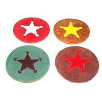 Suede Leather Coaster with Star Design