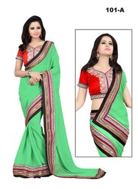 Nirvana Fashion Pista Chiffon with Jari and Stone Work Saree With Blouse Piece