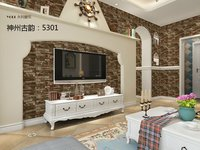 Style Popular Wood Brick Stone Design PVC Home Interior Decoration Wallpaper