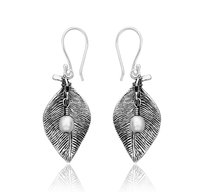 Sterling Silver Earrings With Hanging Pearl - STYLEVIBES