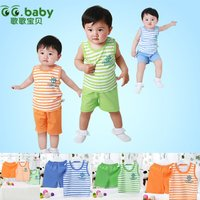 100% Cotton Fashion Striped Summer Baby Boy Clothing Set